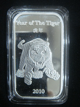 Silver Bar 1 Oz Suisse Gold Year Of The Tiger 2010